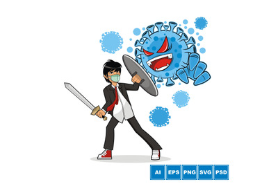 A Guy Against Corona Virus - Vector Illustration