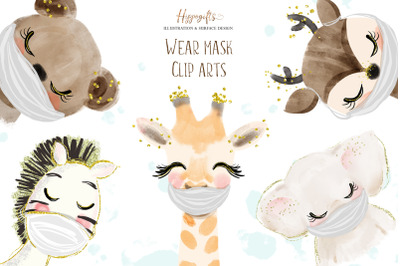 Animals wear face mask clipart