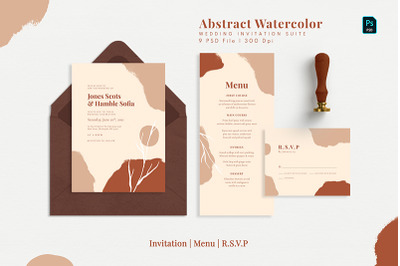 Abstract Watercolor Wedding Suite
