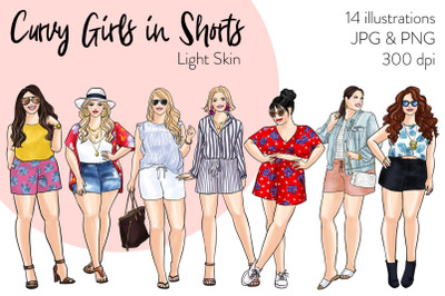 Watercolor Fashion Clipart - Curvy Girls in Shorts - Light Skin