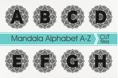Mandala Alphabet Svg, Mandala Letter Svg, Zentangle Alphabet Svg