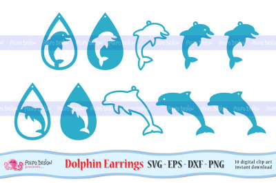 Dolphin Earrings SVG, Eps, Dxf and Png