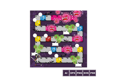 Board Game Design Template with Coronavirus Theme