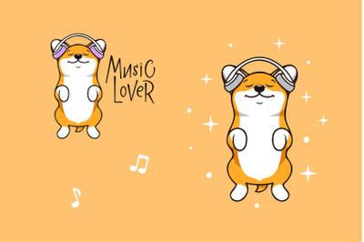 Funny dog corgi, character