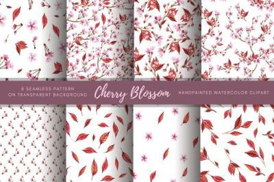 Sakura paper. Watercolor Floral clipart. Pink flower seamless pattern