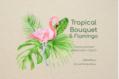 Watercolor Flamingo Clipart. Tropical pink famingo, summer clip art