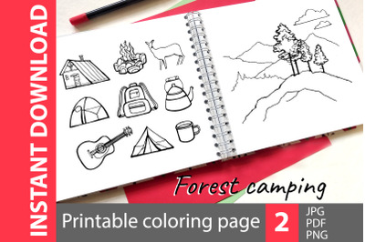 Forest camping - 2 coloring pages