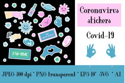 Coronavirus stickers, Covid-19