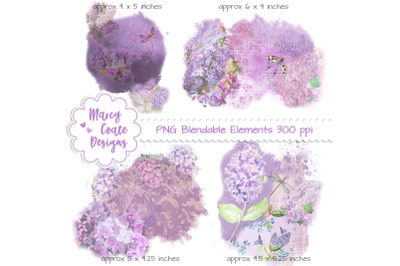 Lilacs & Dragonflies Blendable Overlays