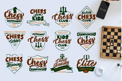 Set of vintage Chess logos