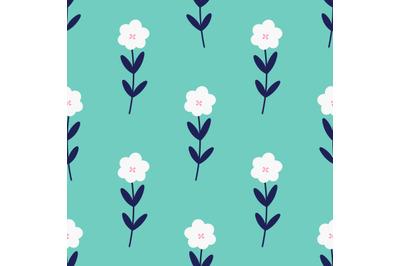Cute white flowersseamless repeat pattern