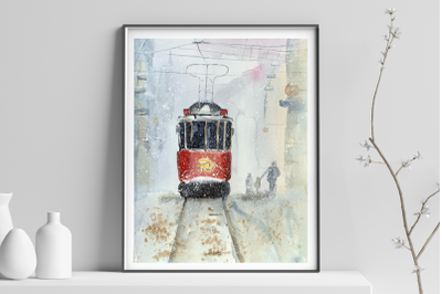 Watercolor Winter in the City Print