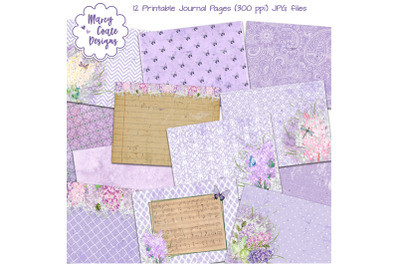 Lilacs Printable Journal Pages in shades of lavender, pink & brown