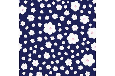 Bloomingwhite spring flowersseamless pattern