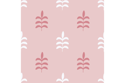 Pink and white leaves seamless repeat pattern