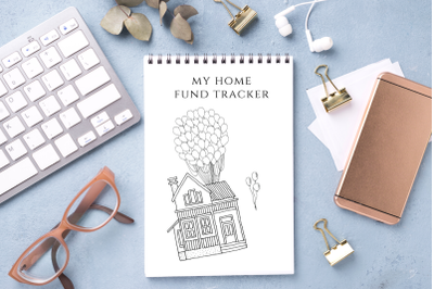 Home Fund Tracker, Down Payment Saving Chart, Debt-Free Goal Tracker