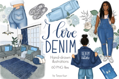 I Love Denim Clipart & Patterns