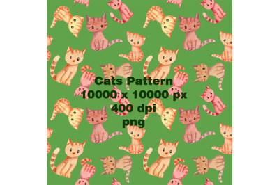 Watercolor cats. Seamless Pattern.