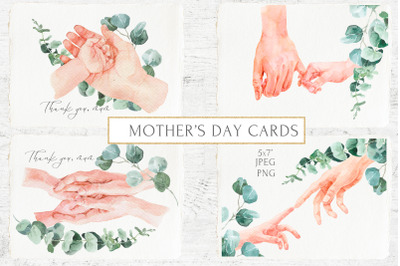 Mother's Day Cards Watercolor Hands and Eucalyptus Greenery