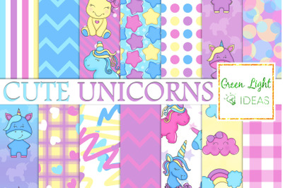 Unicorns Digital Papers, Kawaii Party Backgrounds, Unicorn Scrapbook