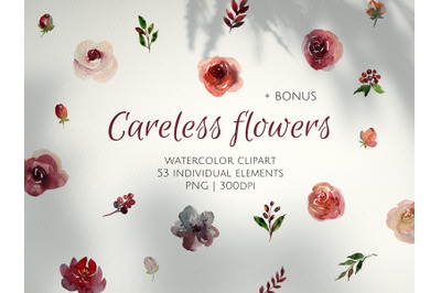 Watercolor Roses Clipart. Wedding Floral Design. 53 isolated elements.