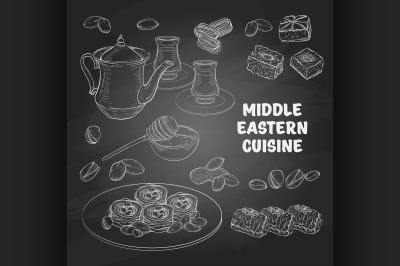 Arabic Food. Middle Eastern sweets and tea