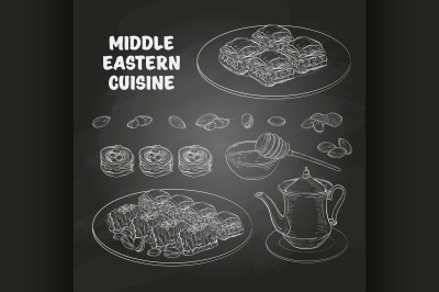 Arabic Food. Middle Eastern sweets and tea 1