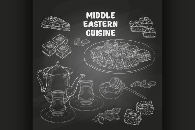 Arabic Food. Middle Eastern sweets and tea 2