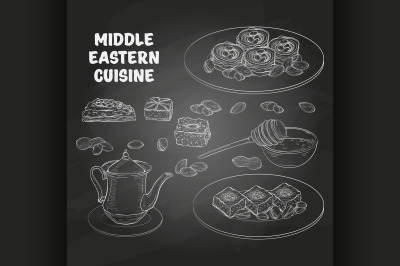 Arabic Food. Middle Eastern sweets and tea 3