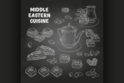 Arabic Food. Middle Eastern sweets and tea 4