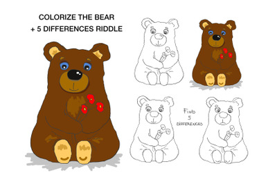 Coloring illustration Cute Bear for children from 3 to 6