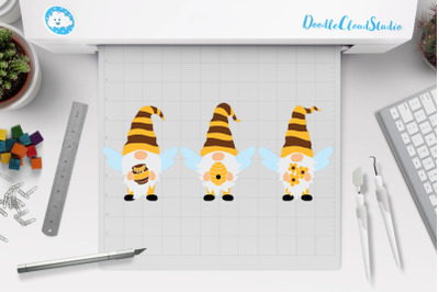 Bees Gnomes SVG Cut Files, Bee Gnome Clipart.