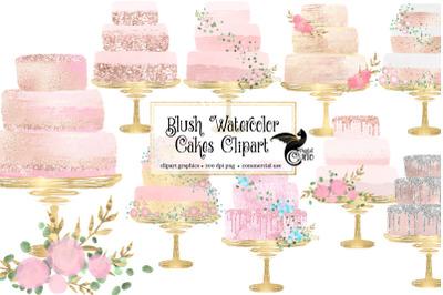 Blush Watercolor Cakes Clipart
