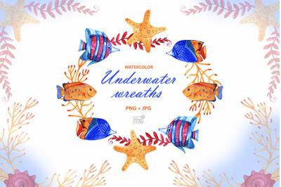 Watercolor underwater cliparts