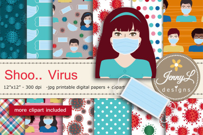 Virus Digital Papers and Surgical Mask Clipart
