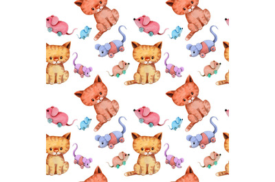 Cats and Mice Seamless Pattern