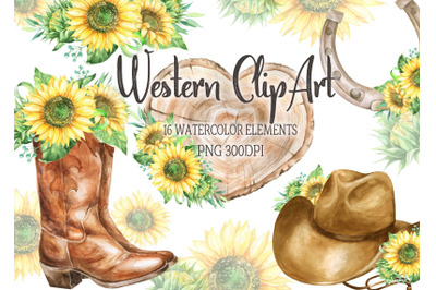 Watercolor western clipart sunflowers cowboy