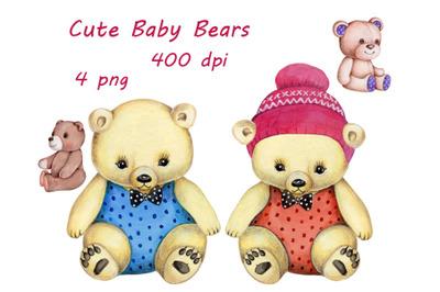 Cute Baby Bears. Watercolor illustrations.
