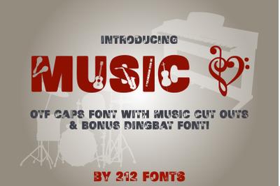Music Display Caps font and Bonus Instruments & Notes Dingbat