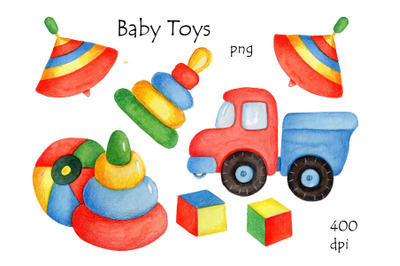 Baby Toys. Watercolor and pencils.