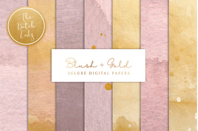Digital Backgrounds & Papers - Blush & Gold