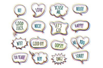 Hand Drawn Colorful Speech Bubbles