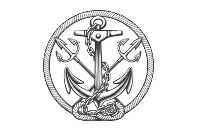 Ship anchor with tridents and ropes engraving illustration