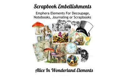 Alice in Wonderland Scrapbook Embellishments Kit