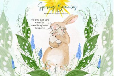 Spring bunnies. Watercolor clipart.
