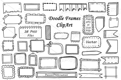 Doodle Frames and Banners Clipart