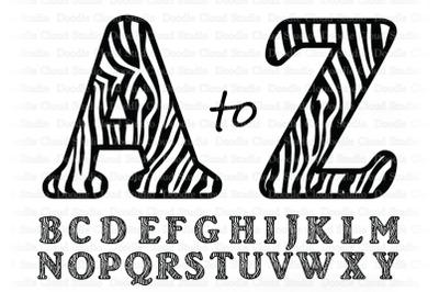 Zebra Alphabet SVG, Zebra Letters SVG, Zebra Alphabet Clipart