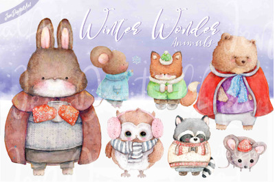 Watercolor Winter Wonder Animals | 7 PNG / JPG Illustrations