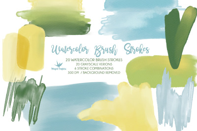 Watercolor Brush strokes: 46 items in gree, blue and Yellow