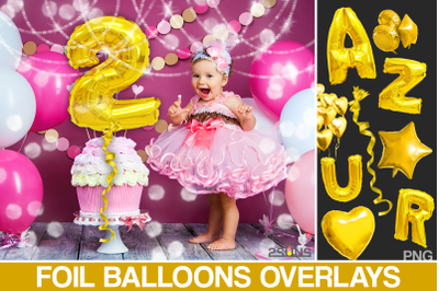 45 Foil Number Balloons Alphabet, Photoshop Overlays, Gold, digital ba